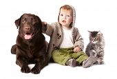 image of coon dog  - Happy kid with his pets  - JPG