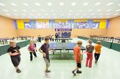 MOSCOW, RUSSIA OCT 23: Children's classes ping pong in Russian State University of Physical Culture,
