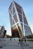 MADRID - MARCH 8: One building of Gate to Europe on March 8, 2012 in Madrid, Spain. 25-storey buildi