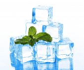 Cubos de gelo com hortelã isolado no branco