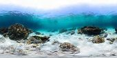 Spherical, 360 degrees panorama of tropical reef with a rocks on sandy bottom, Racha Yai island, Phuket
