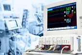 stock photo of icu  - Intensive care unit with ECG monitor - JPG