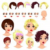 Fashion female avatars. 6 hairstyles, 6 eyes, 6 mouths, 1 head, for multiple combinations. In this i