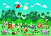 Jungle Animals. Funny cartoon and vector illustration. The sides repeat seamlessly for a possible, c