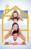 Familie stützte sich auf jeweils anderen Schultern im Bett lächelnd mit gelben Haus Grafik zentrieren Sie