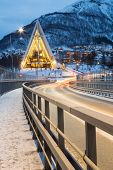 pic of tromso  - Tromso Arctic Cathedral Church in Norway at dusk twilight - JPG