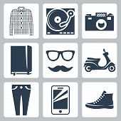 Vector Hipster Icons Set: Check Shirt, Record Player, Camera, Writing Pad, Glasses, Mustache, Scoote