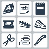 Vector Office Stationery Icons Set: Ream, Note, Writing Pad, Hole Punch, Stapler, Destapler, Scissor