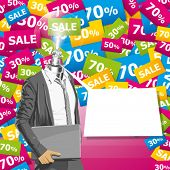 Sale concept. Vector business man in suit with folded hands. All layers well organized and easy to edit