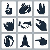 stock photo of salute  - Vector hands icons set - JPG