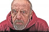 stock photo of scrooge  - A disheveled elderly man with an angry expression - JPG