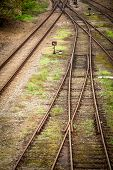 Close up view of railway tracks