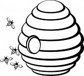 picture of beehive  - beehive with bees - JPG