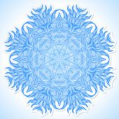 stock photo of boxing day  - Ornamental vector illustration of a snowflake on white paper background - JPG