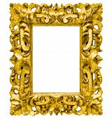 image of metal sculpture  - collection of vintage style golden sculpture photo frame isolated with clipping path on white background - JPG