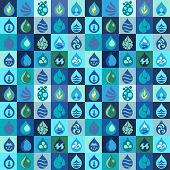 pattern with water icons in flat design style.