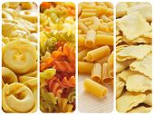 a collage of different uncooked pasta, such as tortellini, fusilli, penne rigate or ravioli
