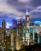 picture of overpopulation  - Urban city in Hong Kong at night - JPG