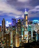 foto of overpopulation  - Urban city in Hong Kong at night - JPG