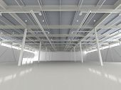 New Modern Empty Storehouse. Huge Light Empty Storehouse