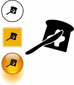 toast with butter and spreading knife symbol sign and button