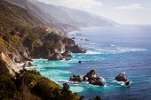pic of pch  - A view out to sea along Big Sur coastline in California USA - JPG
