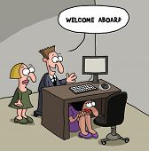 New female office worker cartoon gag