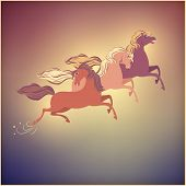 Vintage Galloping Horse Vector Christmas 2014 Card