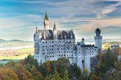 Beautiful autumn view of the Neuschwanstein castle  Bavaria, Germany