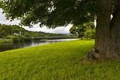 stock photo of brig  - This is the banks of the river Spey at Aberlour - JPG