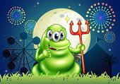 Illustration of a death monster at the carnival with a firework display