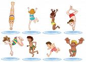 picture of one piece swimsuit  - Illustration of the different kids enjoying the water on a white background - JPG