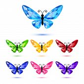 Set of seven diamond butterflies