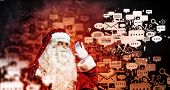 Image of Santa Claus in red costume. Communication concept