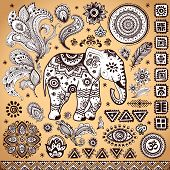 image of indian elephant  - Tribal vintage ethnic pattern set illustration for your business - JPG