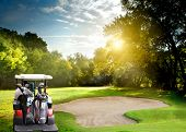stock photo of irish flag  - Irish idyllic golf course in summer time - JPG