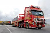 Red Volvo FH Truck With Special Trailer