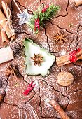 Christmas Gingerbread Baking Background Powdered Dough, Cookie Cutters, Spices And Nuts. Christmas F