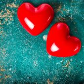 Valentines Day Background With  Red Heart On Old Vintage Wooden Background With Copyspace For Text.