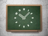 Time concept: Clock on chalkboard background