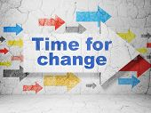 Timeline concept: arrow whis Time for Change on grunge wall background