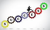 A Businessman Making Significant Progress By Climbing Set Of Colorful Gears With Success Text