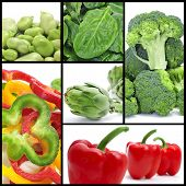 a collage of different vegetables, such as artichokes or broccoli