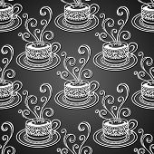Seamless Pattern with Decorative Cups of Coffee