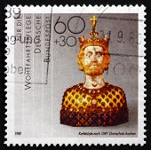 Postage Stamp Germany 1988 Bust Of Charlemagne