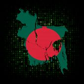 Bangladesh map flag on hex code illustration