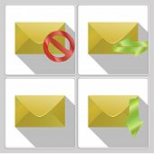 Set Of Icons Four Envelopes