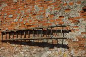 old timber ladders on wall