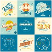 9 Vintage styled Summer Card - Set of calligraphic and typographic elements, frames, vintage labels.