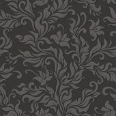 Seamless floral dark pattern. Vector illustration.